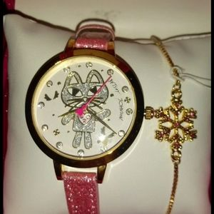 NWT AUTHENTIC Betsey Johnson Cat Watch Gift Set